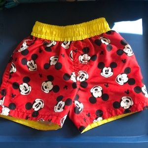 Mickey Mouse Red and yellow Swim Shorts 6/9 boy